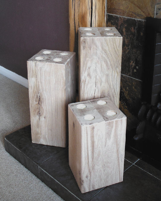 3 Piece Set of Large Chunky Oak Pepperpot T Light Holders